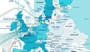 Tak wygląda mapa podwodnych połączeń dla Europy