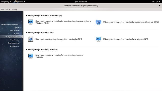 Centrum sterowania podobne do tego w OpenSUSE