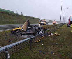 Lamborghini gallardo w ogniu. Groźny wypadek na A1 pod Toruniem
