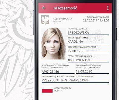 Zdjęcie z programu mObywatel udostępnione przez Ministerstwo Cyfryzacji - nie są to dane istniejącej osoby