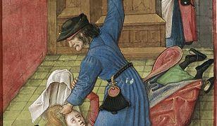 Maltretowana kobieta. Miniatura z kodeksu z późnośredniowiecznej Brugii