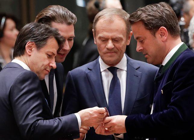 Premier Włoch Giuseppe Conte, kanclerz Austrii Sebastian Kurz, szef RE Donald Tusk oraz premier Luksemburga Xavier Bettel