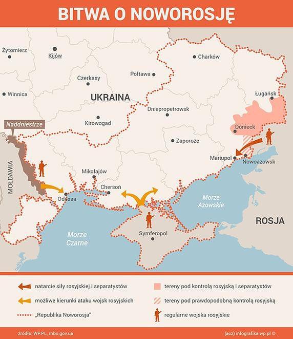 Obawy o wielką rosyjską ofensywę na południową Ukrainę nie są niczym nowym. Ta mapa przedstawia scenariusz rysowany w maju 2014 roku.