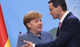 Kanclerz Merkel i premier Morawiecki podczas spotkania w Warszawie