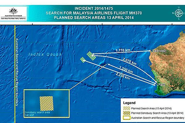 Mapa przedstawiająca obszar poszukiwań zaginionego samolotu