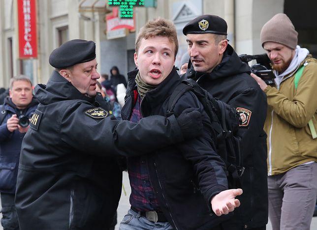 Raman Pratasiewicz podczas protestów w Mińsku