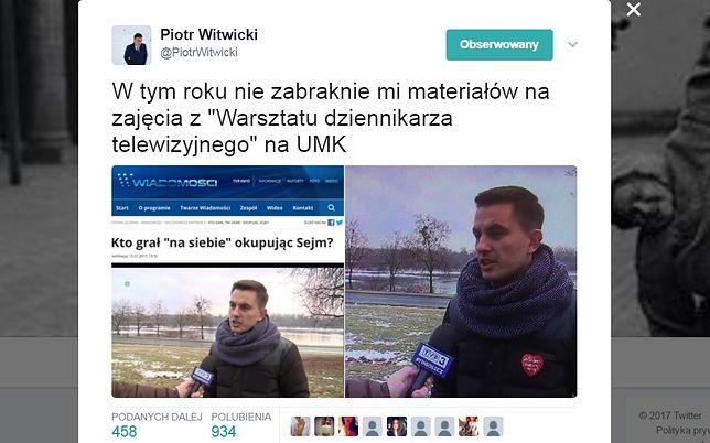 Tweet Piotra Witwickiego pokazujący zamazane serduszko WOŚP w materiale TVP