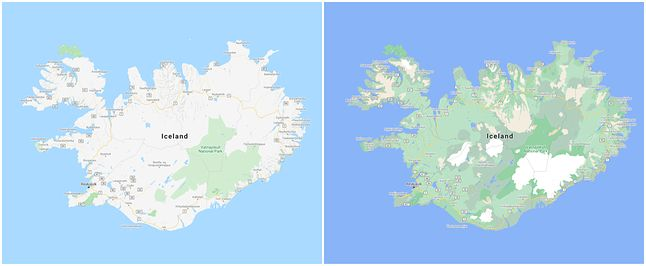 Islandia przed zmianami (lewo) i po zmianach (prawo), fot. Google