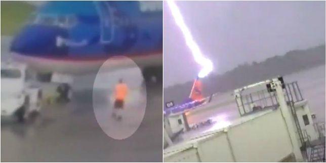 Pracownik lotniska został trafiony błyskawicą. Pokazał, co się z nim stało
