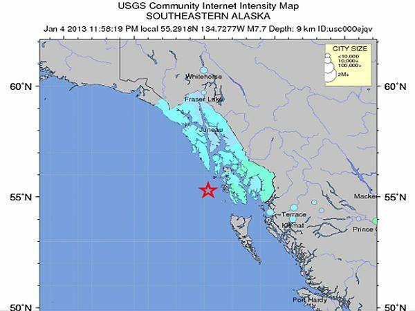 Epicentrum wstrząsów znajdowało się ok. 100 km na południowy-zachód od Port Alexander