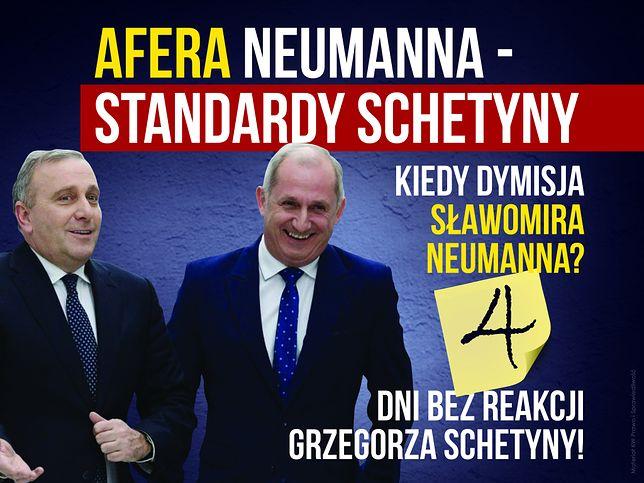 Grzegorz Schetyna i Sławomir Neumann na tablicy PiS.