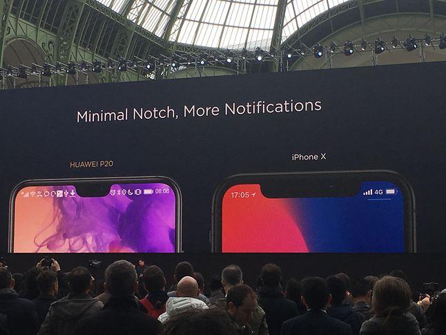 Wycięcie w ekranie węższe niż w iPhonie, szersze niż w Essential Phonie. Mieści się na nim jednak 24-megapikselowy przedni aparat.