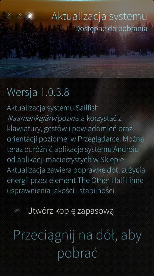 Update Sailfisha do wersji 1.0.3.8 i 10% zniżki na smartfon Jolli