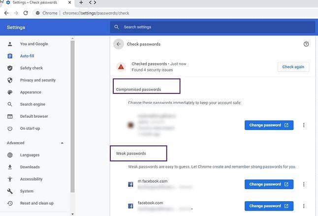 """Google Chrome i podział zapisanych haseł na """"słabe"""" i te, które wyciekły do sieci, źródło: Techdows."""