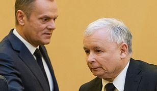 Donald Tusk  jeszcze jako lider PO i prezes PiS Jarosław Kaczyński.