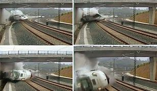 Moment katastrofy pociągu w Santiago de Compostela w Hiszpanii