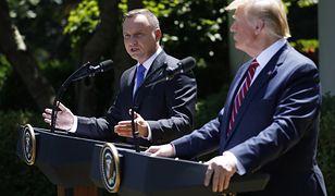 Andrzej Duda i Donald Trump na wspólnej konferencji przed Białym Domem w Waszyngtonie