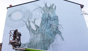 Bielsko-Biała. Nowy mural, mityczna wierzba wyrosła na ścianie kamienicy