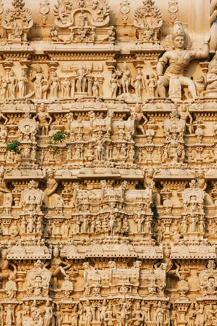 Thiruvananthapuram, India - Facade of Padmanabhaswamy temple was built in the Dravidian style and principal deity Vishnu is enshrined in it. architecture details of temle, sculptures