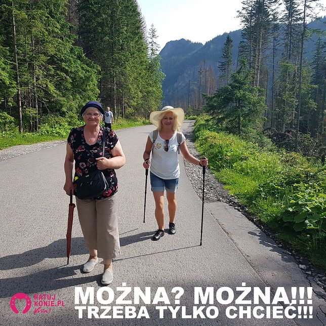 Dla starszej pani nie było przeszkodą, aby o własnych siłach, podbierając się jedynie parasolką, w 3,5 godz. dotrzeć do najpopularniejszego w Tatrach jeziora