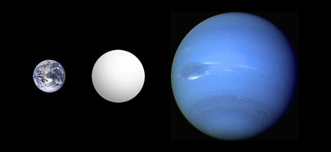 Po lewej Ziemia, środek superziemia CoRoT-7 b, po prawo Neptun
