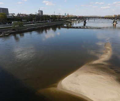 Warszawa. Poziom wody w Wiśle jest niepokojąco niski