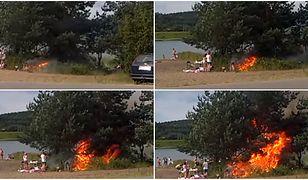 Próbowali rozpalić grilla. Po chwili zapłonęło wszystko wokół. Przerażające wideo hitem sieci