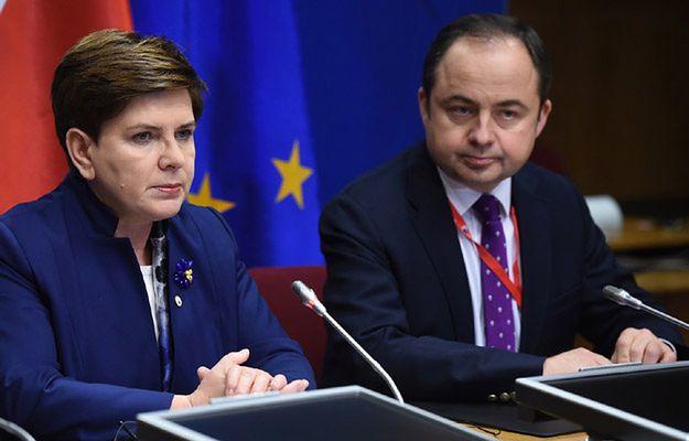 Premier Beata Szydło i minister ds. europejskich Konrad Szymański