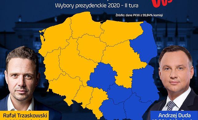 Wyniki wyborów 2020. Tak głosowały województwa