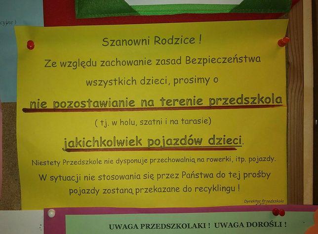 Ogłoszenie zamieszczone w przedszkolu