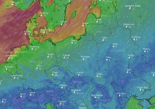 Prognoza pogody. Podmuchy wiatru w nocy z piątku na sobotę.
