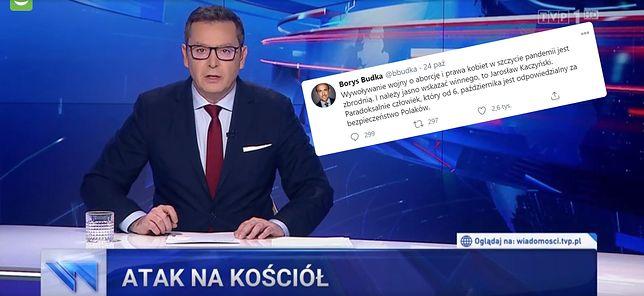 """Wpadka """"Wiadomości"""" z wpisem Borysa Budki na Twitterze"""