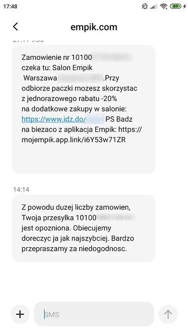 SMS-y od Empiku