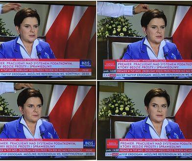 Zabawna wpadka podczas wywiadu z Beatą Szydło w TVP Info. Tajemnicza ręka poprawiła jej fryzurę