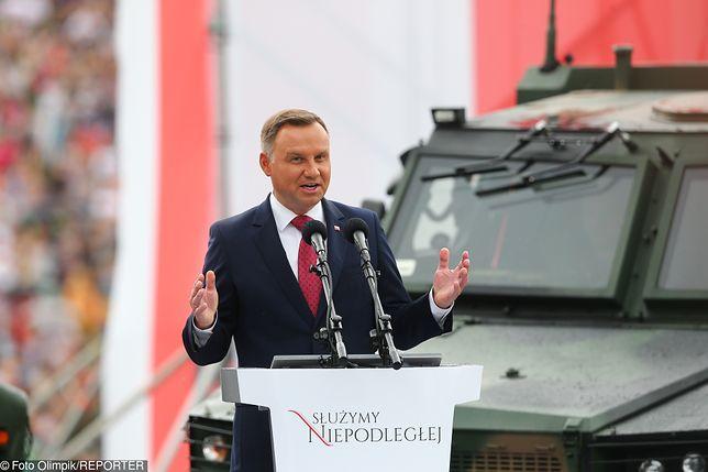 Prezydent Andrzej Duda przemawiał podczas obchodów Święta Wojska Polskiego