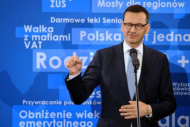 Mateusz Morawiecki na spotkaniu wyborczym PiS w Ostrowcu Świętokrzyskim