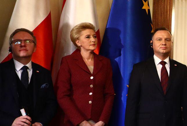 Agata Kornhauser-Duda na otwarciu Konsulatu Generalnego Austrii. Postawiła na bardzo zachowawczy strój