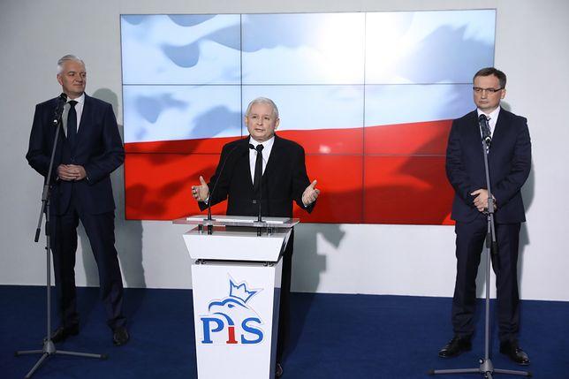 Jarosław Gowin, Jarosław Kaczyński i Zbigniew Ziobro.