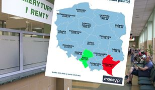 Emerytury i renty mocno różnią się w poszczególnych województwach.