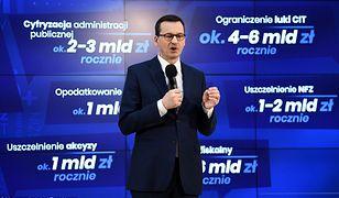 """Premier Mateusz Morawiecki przedstawia założenia """"Nowej Piątki""""."""