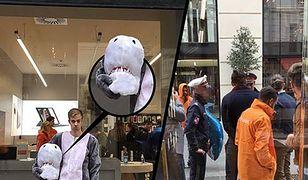 Mężczyzna reklamował nowo otworzony w Wiedniu sklep elektroniczny McShark (fot. Facebook/Warda Network)