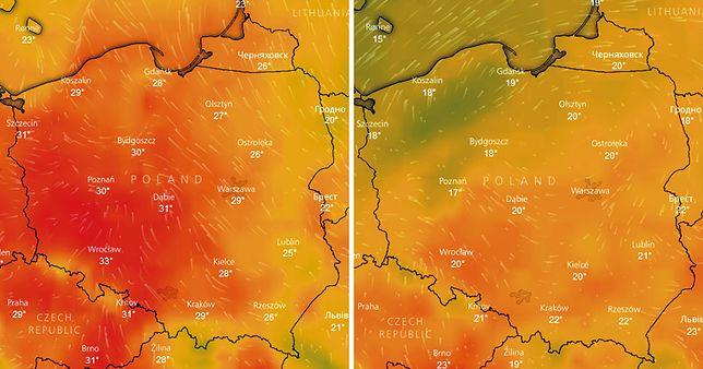W weekend temperatura spadnie średnio o 10 st. C - po lewej prognozowane temperatury w czwartek, a po prawej w sobotę po południu