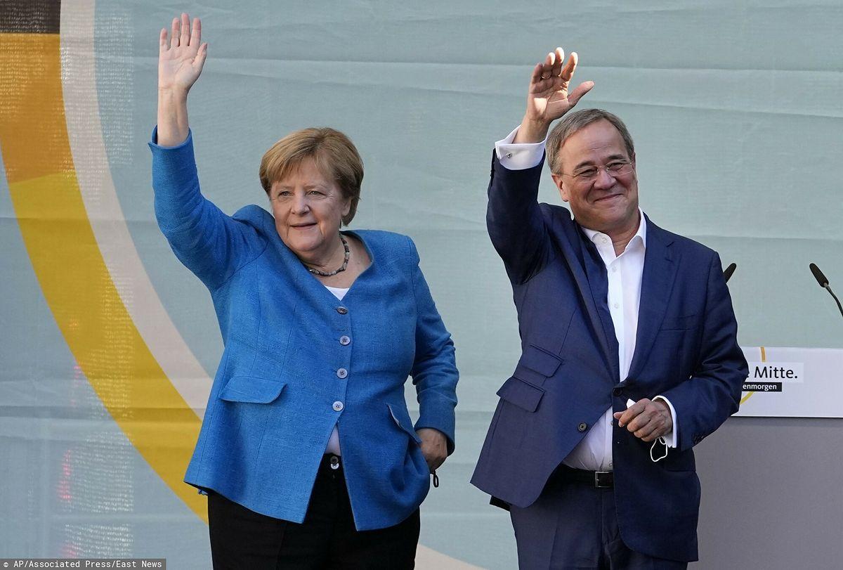 Angela Merkel i Armin Laschet wzięli w wiecu wyborczym w Akwizgranie (fot. Associated Press, East News)