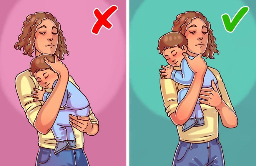 Utrzymuj główkę dziecka nad własnym ramieniem