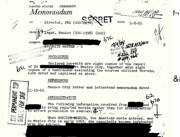 Oryginalny dokument z inwigilacji Marilyn Monroe przez FBI