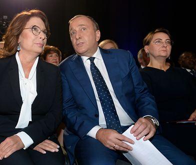 Małgorzata Kidawa-Błońska i Grzegorz Schetyna na konwencji wyborczej Koalicji Obywatelskiej w Poznaniu.