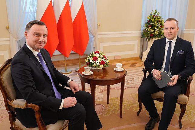 Prezydent Andrzej Duda i Marcin Makowski, publicysta WP, przed rozmową w Pałacu Prezydenckim