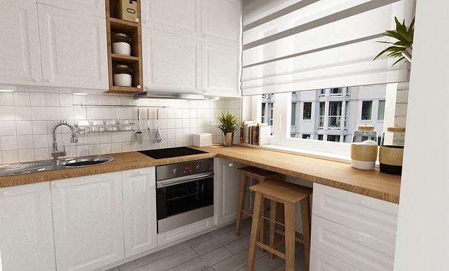 W małej kuchni nadmiar akcesoriów wywołuje wrażenie bałaganu. Znacznie lepiej niż otwarte półki sprawdzą się zamykane szuflady i szafki.