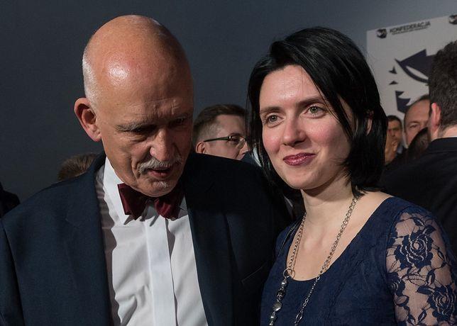 Janusz Korwin-Mikke wraz z żoną Dominiką Sibigą