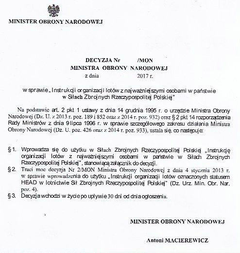 Instrukcja, której nie zdążył podpisać Antoni Macierewicz, czeka na podpis Mariusza Błaszczaka